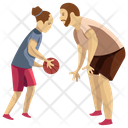 Playing Basketball Basketball Game Father Daughter Icon