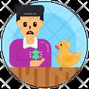 Autistic Boy Playing With Duckling Asd Boy Icon