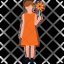 Playing With Pinwheel Playing Girl Park Fun Icon