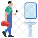 Plumber Technician Repairing Man Icon