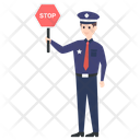 Policeman Police Officer Road Sign Icon