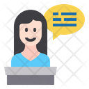 Presenter Woman Presenter Chat Box Icon