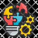 Problem Solving Lightbulb Cogwheel Icon