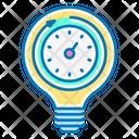 Productivity Light Bulb Time Icon