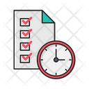 Deadline Stopwatch Checklist Icon