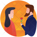 Proposing Couple Christmas Gift Loving Couple Icon