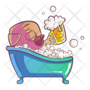Pug is bathing and holding the beer cup Icon