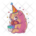 Pug wearing birthday cap with cake Icon