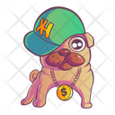 Pug Wearing Cap On Head And Chain In Neck Icon