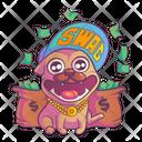 Pug Wearing Swag Cap Icon