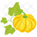 Pumpkin With Leaves Icon