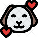 Puppy Smiling With Hearts Icon