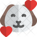 Puppy Smiling With Hearts Animal Wildlife Icon