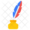 Quill Writing Vintage Writing Inkpot Icon