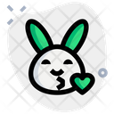 Rabbit Blowing A Kiss Icon