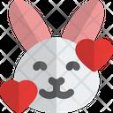 Rabbit Smiling With Hearts Animal Wildlife Icon
