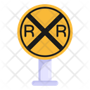 Railway Crossing Railroad Crossing Traffic Board Icon