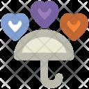 Rain Hearts Umbrella Icon