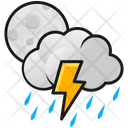 Rain Storm Lightning Moon Icon