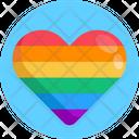 Rainbow Heart Valentine Romantic Icon