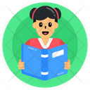 Student Pupil Reading Book Icon