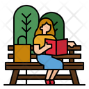 Reading Book Park Relax Icon