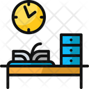 Clock And Desk Book Cabinet Icon