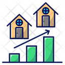 Real Estate Value House Graph Icon