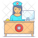Hospital Desk Receptionist Clinic Desk Icon