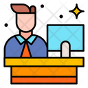 Receptionist Customer Service Help Desk Icon