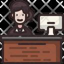 Receptionist Woman Information Desk Icon