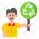 Recycle Board Man Sign Icon