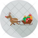 Reindeer Sledge Travel Icon