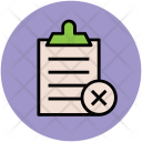 Rejected List Clipboard Icon