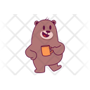 Relaxing Bear With Tea Icon