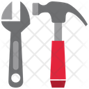 Adjustable Wrench Hammer Icon