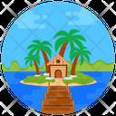 Resort Beach Hut River Icon