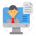 Computer Businessman Paper Icon