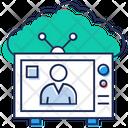 Retro Tv Cloud Broadcast Cloud Storage Icon