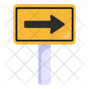 Right Arrow Road Post Traffic Board Icon