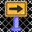 Right Arrow Board Road Post Traffic Board Icon