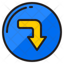 Right Down Arrow Right Turn Right Icon