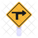 Right Arrow Right T Junction Traffic Board Icon