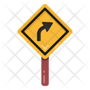 Right Turn Road Post Traffic Board Icon