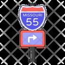 Right Turn Board Road Post Traffic Board Icon