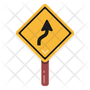 Right Up Turn Road Post Traffic Board Icon
