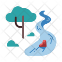 River Forest Water Icon
