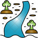 River Glacier Rivulet Icon