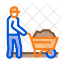 Worker Cart Construction Icon