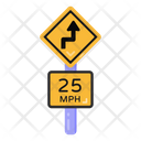 Road Curve Arrow Road Post Traffic Board Icon